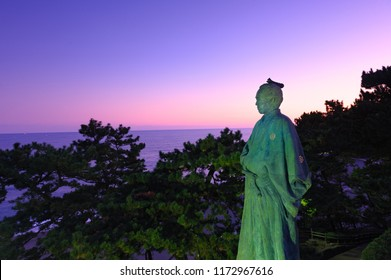Night View of Ryoma Statue at Katsurahama