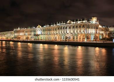 Night view saint petersburg, St. Petersburg, Hermitage.