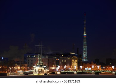 Night view in Saint-Petersburg on Aurora, Avrora battle ship and TV tower