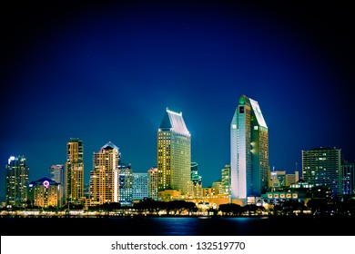 Night view of  San Diego skyline