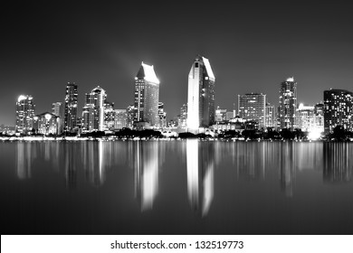 Night view of  San Diego skyline in black and white