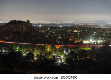 Night view of the San Fernando Valley, Topanga Canyon Blvd and Stoney Point Park and in Los Angeles, California.
