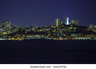 A night view of San Francisco Telegraph Hill from Treasure Island