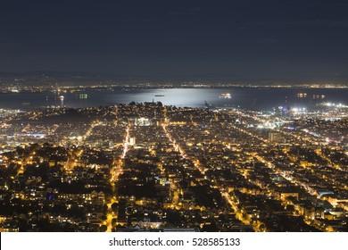Night view in San Francisco from Twin Peaks, San Francisco, California.