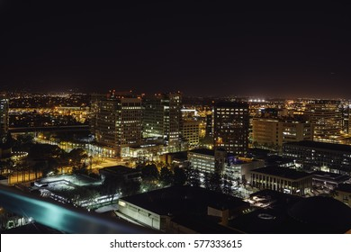 Night view of San Jose, California from the hotel roof