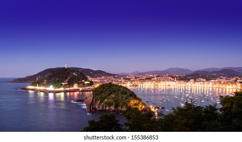 Night view of San Sebastian, Basque country, Spain
