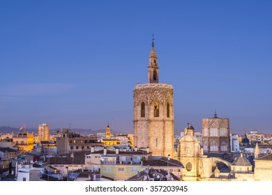The night view from the Santa Catalina bell tower. Panoramic view of the Valencia Cathedral. Spain