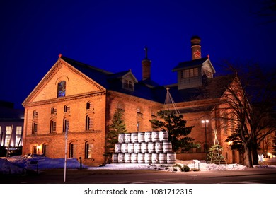 It is the night view of Sapporo Beer Museum in Hokkaido.