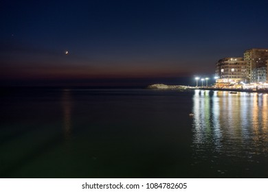 Night view of sea side in Durres Albania