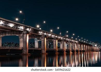 A Night view of Seoul, Han River (Hangang River), Submerged Bridge, Banpodaegyo (Banpo Bridge), South Korea