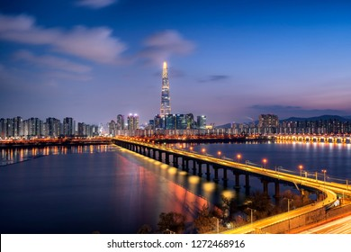 Night view at Seoul Skyline in South Korea.