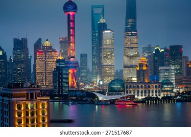 night view at shanghai china, huangpu river and bund.