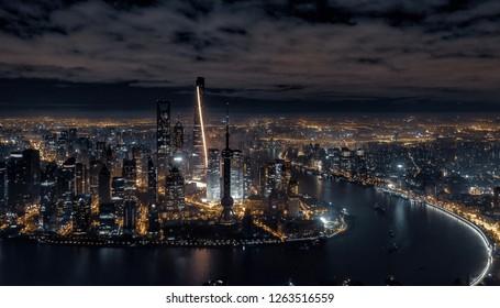 Night view of Shanghai skyline