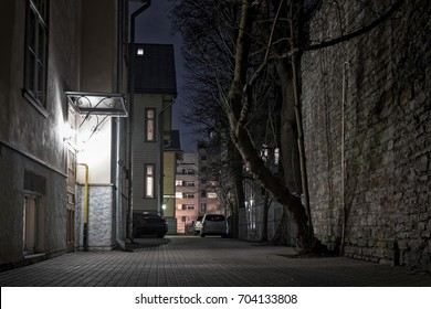 Night view of a sheltered yard at Tallinn, Estonia. There are a lot of yards like this right in the middle of the city.