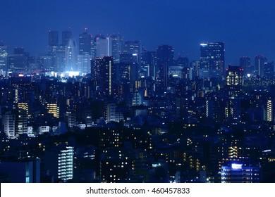 The night view of the Shinjuku city of Tokyo, Japan.