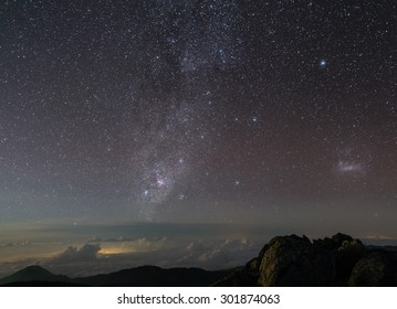 Night view at Sierra Nevada, at the base of the Bolivar Peak (Venezuela's highest mountain, with almost 5.000 masl) with the Milky Way, in Venezuela