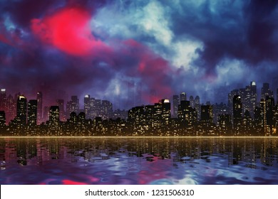 Night view silhouette of New York / Manhattan in scary sky atmosphere with reflection in the river.