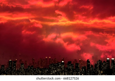NIGHT VIEW SILHOUETTE OF NEW YORK / MANHATTAN WITH SCARY FIRE RED SKY