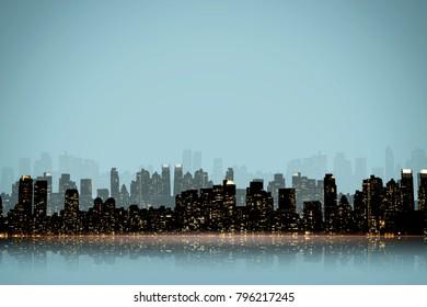 NIGHT VIEW SILHOUETTE OF NEW YORK / MANHATTAN IN BLUE TONE