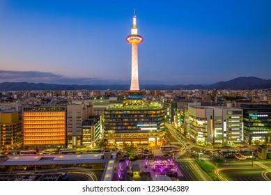 night view of the skyline of kyoto, japan