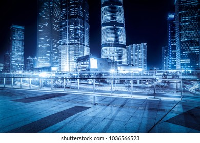 The night view of the skyscraper in Lujiazui Financial District,