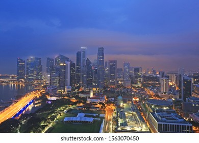 Night view of skyscrapers around Marina bay, Singapore
