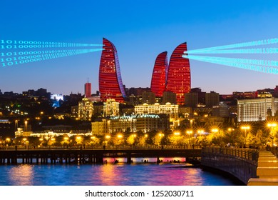 Night view of the skyscrapers in Baku