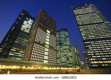 Night View of Skyscrapers in Shiodome
