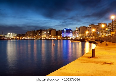 Night view of Sliema, near Valletta, Malta