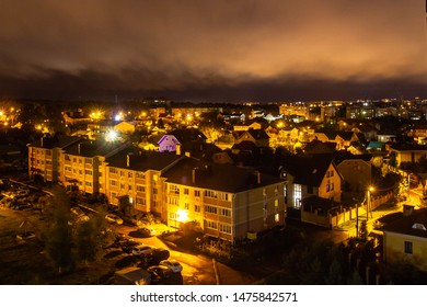 Night view of a small town from above. Kostroma city in Russia.