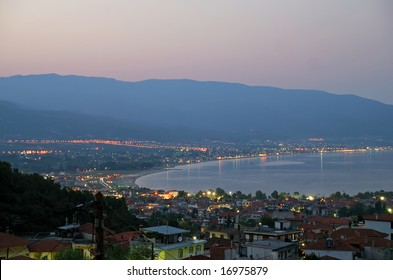 Night view of a small town Stavros - Greece