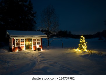 A night view of the snowy garden house with the illuminated christmas tree