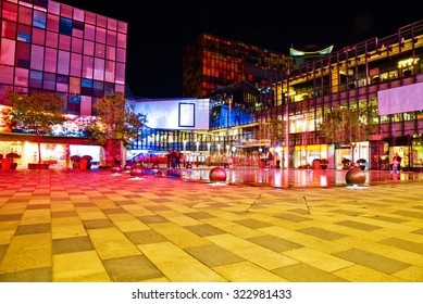Night view of a square in the commercial center, Beijing,China.