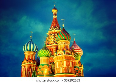 Night view of St. Basil's Cathedral in Moscow
