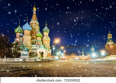 Night view of St. Basil's Cathedral on Red Square in winter