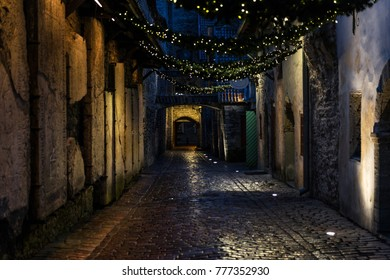 Night view of St. Catherine Passage in Tallinn, Estonia, a medieval passage containing some of the old remainings of a Dominican Monastery in the city.