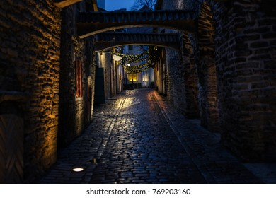 Night view of St. Catherines Passage in Tallinn, Estonia, a medieval passage containing some of the old remainings of a Dominican Monastery in the city.