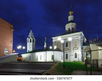 Night view of the St. George Church with the bell tower in Vladimir, Russia.