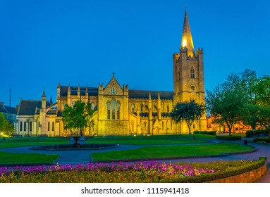 Night view of the St. Patrick's Cathedral in Dublin, Ireland