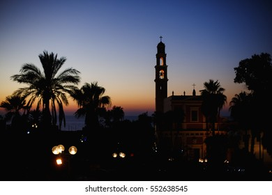 Night view of the St. Peter Church in the old city. Jaffa, Tel-Aviv-Yafo, Israel.