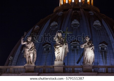 Night View St Peters Basilica Beautiful Stock Photo (Edit Now