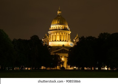 Night View of St. Petersburg. St. Isaac's Cathedral. Russia