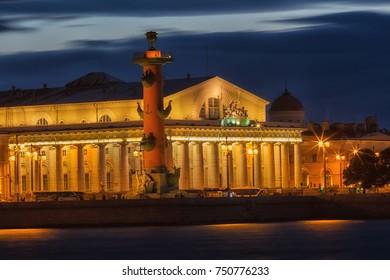 Night view of St. Petersburg. Vasilyevsky Island in night