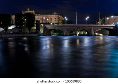 Night view of Stockholm city center.