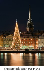 A night view of Stockholm old city with christmas tree, Stockholm, Sweden
