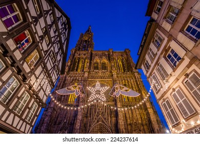 Night view of Strasbourg's impressive Cathedral during Christmas Season