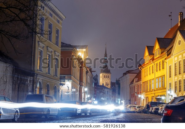 night view of the street, Tallinn Estonia