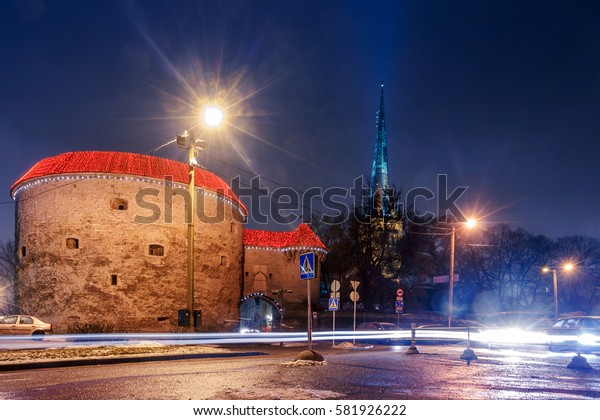 night view of the street, Tallinn Estonia