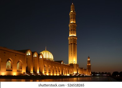 Night view of the Sultan Qaboos Grand Mosque, Muscat, Oman