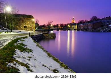 Night view of Suomenlinna (Sveaborg) sea fortress in Helsinki, Finland